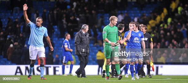 Barclays Premier League Manchester City v Everton Etihad Stadium Manchester City goalkeeper Joe Hart speaks with Everton's Leighton Baines after the...
