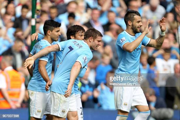 Barclays Premier League Manchester City v Everton Etihad Stadium Manchester City's Sergio Aguero celebrates with teammates after his penalty went in...