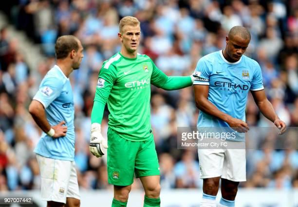 Barclays Premier League Manchester City v Everton Etihad Stadium Manchester City's Pablo Zabaleta goalkeeper Joe Hart and Vincent Kompany dejected...
