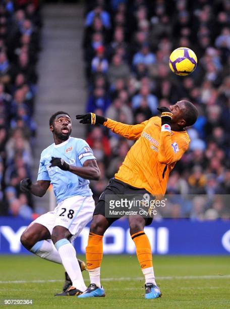 Barclays Premier League Manchester City v Hull City City of Manchester Stadium Manchester City's Kolo Toure and Hull City's Jozy Altidore battle for...