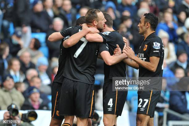 Barclays Premier League Manchester City v Hull City Etihad Stadium Hull City's David Meyler celebrates scoring his side's first goal with teammates...