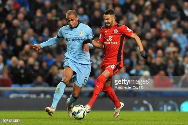 Barclays Premier League Manchester City v Leicester City Etihad Stadium Manchester City's Fernando and Leicester City's Riyad Mahrez