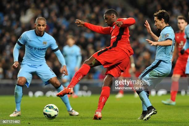 Barclays Premier League Manchester City v Leicester City Etihad Stadium Manchester City's Jesus Navas and Leicester City's Jeffrey Schlupp