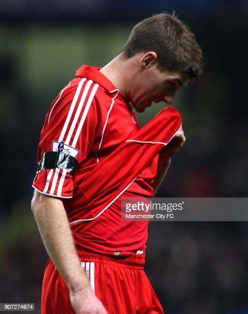 Barclays Premier League Manchester City v Liverpool City of Manchester Stadium Liverpool's Steven Gerrard dejected after the final whistle