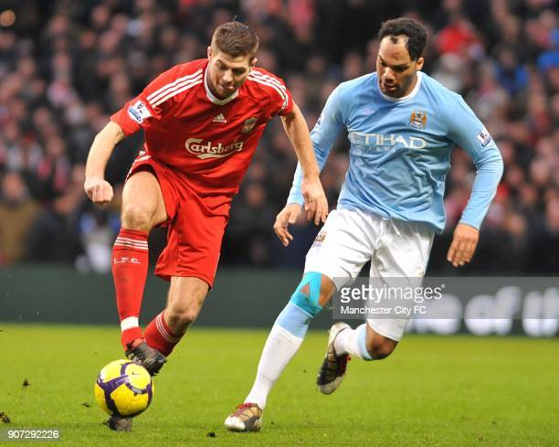 Barclays Premier League Manchester City v Liverpool City of Manchester Stadium Liverpool's Steven Gerrard and Manchester City's Joleon Lescott in...