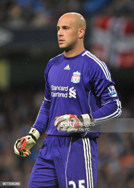 Barclays Premier League Manchester City v Liverpool City of Manchester Stadium Jose Reina Liverpool goalkeeper