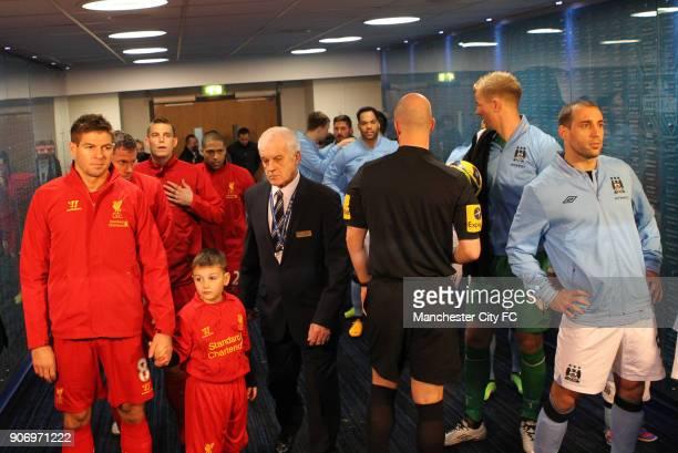 Barclays Premier League Manchester City v Liverpool Etihad Stadium Manchester City's Pablo Zabaleta and Liverpool's Steven Gerrard in the tunnel...