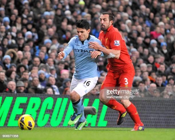Barclays Premier League Manchester City v Liverpool Etihad Stadium Liverpool's Sanchez Jose Enrique and Manchester City's Sergio Aguero battle for...