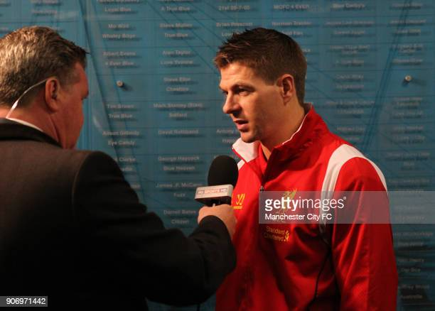 Barclays Premier League Manchester City v Liverpool Etihad Stadium Liverpool's Steven Gerrard is interviewed by Sky Sports before the match
