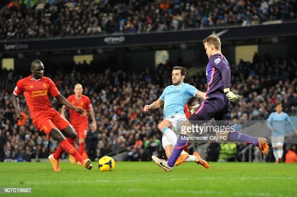 Barclays Premier League Manchester City v Liverpool Etihad Stadium Manchester City's Alvaro Negredo goes in to challenge Liverpool goalkeeper Simon...