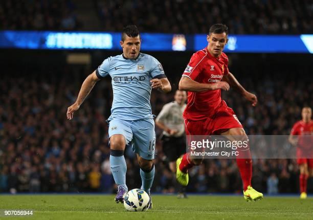 Barclays Premier League Manchester City v Liverpool Etihad Stadium Manchester City's Sergio Aguero and Liverpool's Dejan Lovren