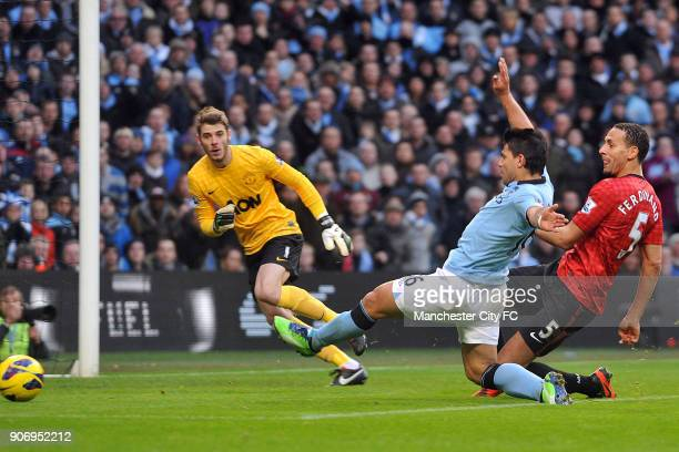 Barclays Premier League Manchester City v Manchester United Etihad Stadium Manchester City's Sergio Aguero is denied a chance on goal by Manchester...