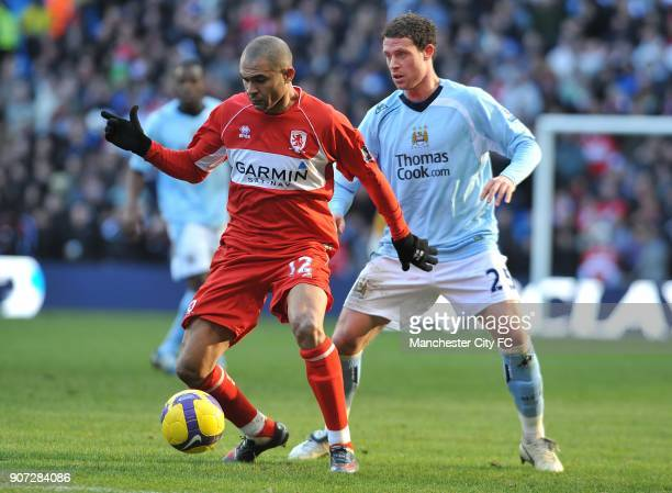 Barclays Premier League Manchester City v Middlesbrough City of Manchester Stadium Middlesbrough's Afonso Alves and Manchester City's Wayne Bridge in...