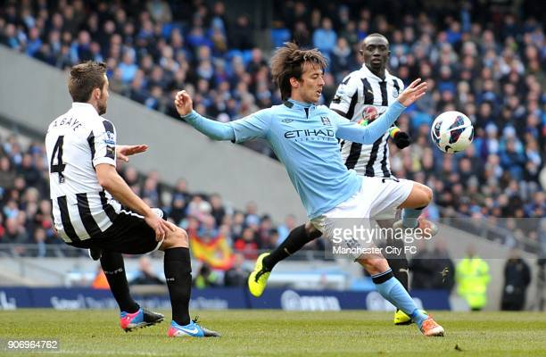 Barclays Premier League Manchester City v Newcastle United Etihad Stadium Manchester City's David Silva in action with Newcastle United's Yohan Cabaye