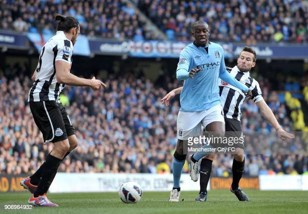 Barclays Premier League Manchester City v Newcastle United Etihad Stadium Manchester City's Yaya Toure in action with Newcastle United's Yohan Cabaye...