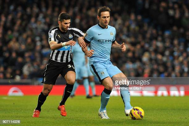 Barclays Premier League Manchester City v Newcastle United Etihad Stadium Manchester City's Frank Lampard and Newcastle United's Mehdi Abeid during...