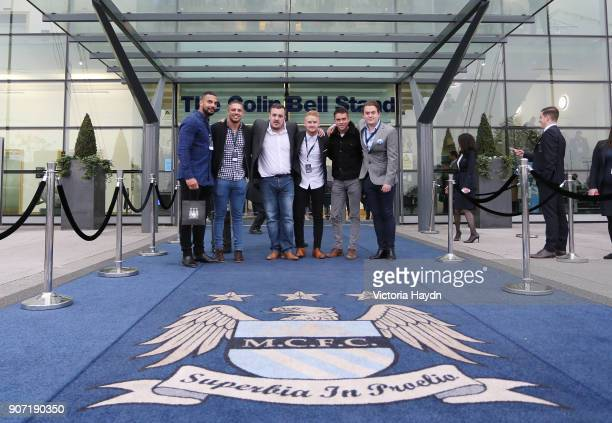 Barclays Premier League Manchester City v Newcastle United Etihad Stadium Warrington Wolves players Ryan Atkins Gene Ormsby Matty Russell Coronation...