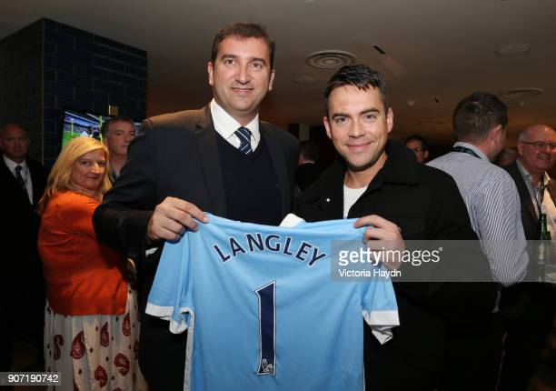 Barclays Premier League Manchester City v Newcastle United Etihad Stadium Manchester Citys CEO Ferran Soriano with Bruno Langley
