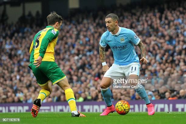 Barclays Premier League Manchester City v Norwich City Etihad Stadium Manchester City's Aleksandar Kolarov and Norwich City's Jonny Howson during the...