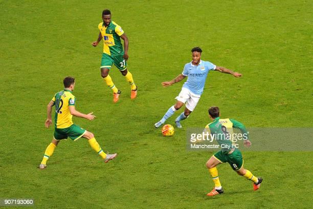 Barclays Premier League Manchester City v Norwich City Etihad Stadium Manchester City's Raheem Sterling and Norwich City's Alexander Tetty Robbie...