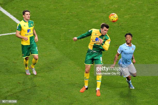 Barclays Premier League Manchester City v Norwich City Etihad Stadium Manchester City's Raheem Sterling and Norwich City's Jonny Howson during the...