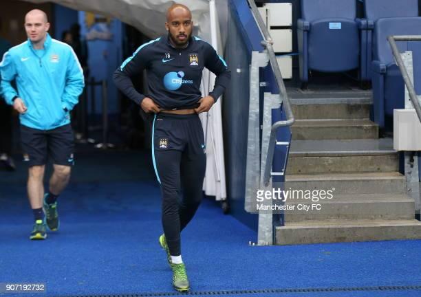 Barclays Premier League Manchester City v Norwich City Manchester City Training Session Etihad Stadium Manchester City's Fabian Delph walks out for...