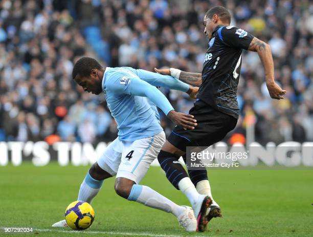 Barclays Premier League Manchester City v Portsmouth City of Manchester Stadium Manchester City's Nedum Onuoha and Portsmouth's KevinPrince Boateng...
