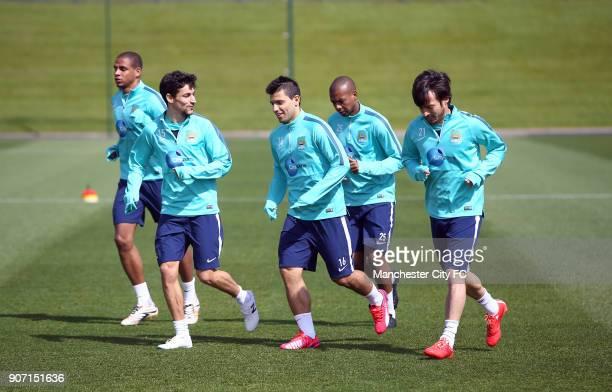 Barclays Premier League Manchester City v Queens Park Rangers Manchester City Training Friday City Football Academy Manchester City's Jesus Navas...