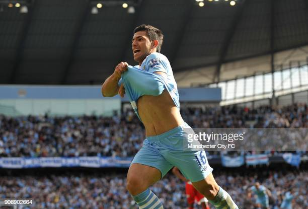 Barclays Premier League, Manchester City v Queens Park Rangers, Etihad Stadium, Manchester City's Sergio Aguero celebrates scoring the winning goal