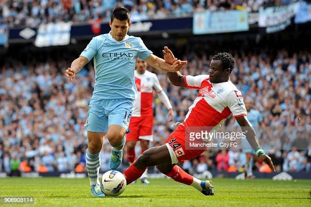 Barclays Premier League, Manchester City v Queens Park Rangers, Etihad Stadium, Manchester City's Sergio Aguero goes around Queens Park Rangers' Taye...