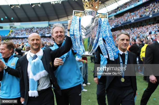 Barclays Premier League Manchester City v Queens Park Rangers Etihad Stadium Manchester City manager Roberto Mancini goalkeeping coah Massimo Battara...