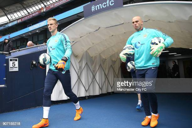 Barclays Premier League Manchester City v Queens Park Rangers Etihad Stadium Manchester City's Joe Hart and Willy Caballero