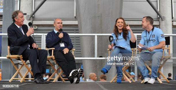 Barclays Premier League Manchester City v Southampton Etihad Stadium Tommy Boot Ian Cheeseman Natalie Pike and Danny Jackson in City Square before...
