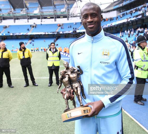 Barclays Premier League Manchester City v Southampton Etihad Stadium Yaya Toure with the Kick it out award Laurie Cunningham Award