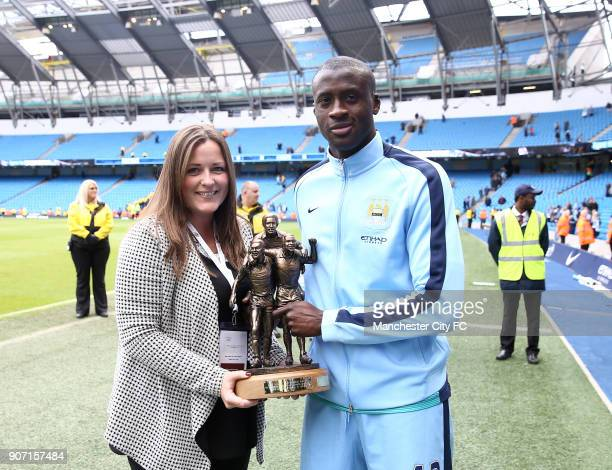 Barclays Premier League Manchester City v Southampton Etihad Stadium Yaya Toure receives Kick it out award Laurie Cunningham Award