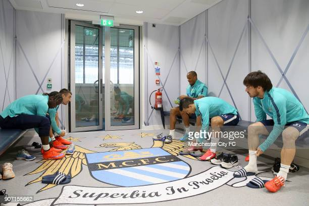 Barclays Premier League Manchester City v Southampton Manchester City Training City Football Academy Manchester City players in the changing room...