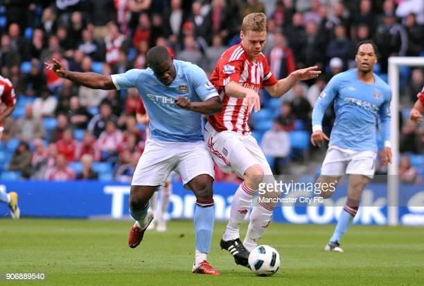 Barclays Premier League Manchester City v Stoke City City of Manchester Stadium Manchester City's Micah Richards challenges Stoke City's Ryan...