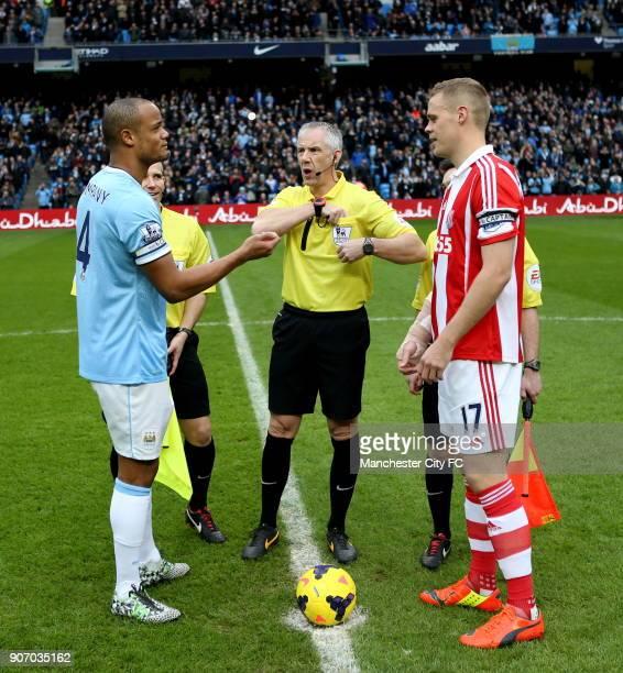Barclays Premier League Manchester City v Stoke City Etihad Stadium Manchester City's Vincent Kompany and Stoke City's Ryan Shawcross during the toss