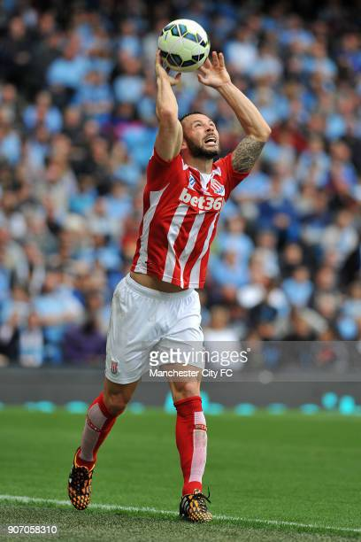 Barclays Premier League Manchester City v Stoke City Etihad Stadium Stoke City's Phil Bardsley takes a throw in