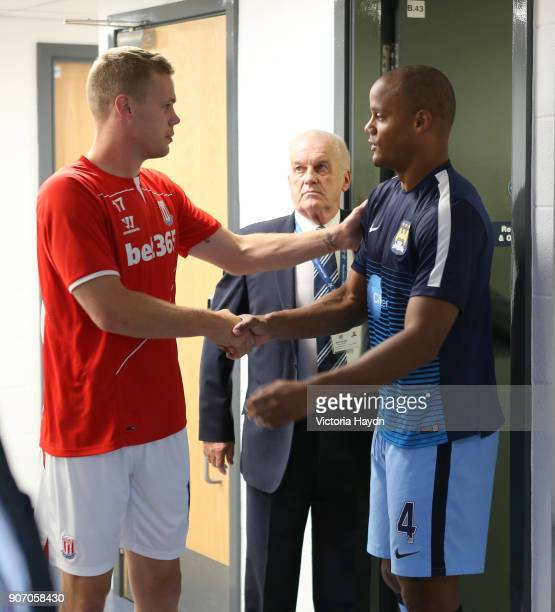 Barclays Premier League Manchester City v Stoke City Etihad Stadium Manchester City's Vincent Kompany shakes hands with Stoke City's Ryan Shawcross...