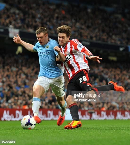 Barclays Premier League Manchester City v Sunderland Etihad Stadium Sunderland's Marcos Alonso and Manchester City's James Milner battle for the ball