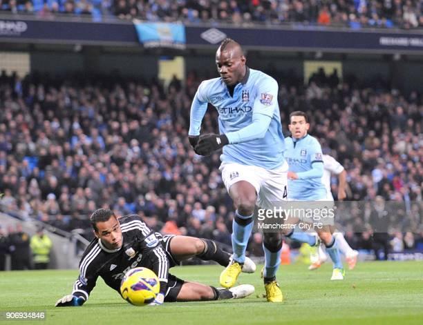Barclays Premier League Manchester City v Swansea City Etihad Stadium Manchester City's Mario Balotelli rounds Swansea City's goalkeeper Michel Vorm