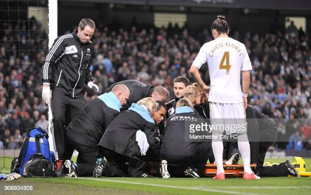 Barclays Premier League Manchester City v Swansea City Etihad Stadium Swansea City's goalkeeper Michel Vorm lies injured on the ground and is...