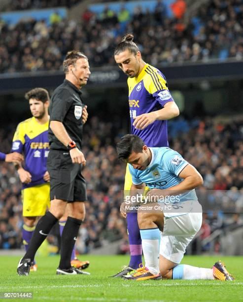Barclays Premier League Manchester City v Swansea City Etihad Stadium Manchester City's Sergio Aguero picks himself up off the ground as Swansea...