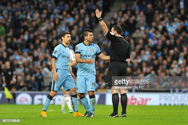 Barclays Premier League Manchester City v Swansea City Etihad Stadium Manchester City's Jesus Navas and Sergio Aguero appeal to the referee