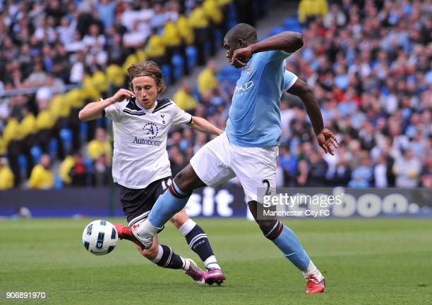 Barclays Premier League Manchester City v Tottenham Hotspur City of Manchester Stadium Manchester City's Micah Richards and Tottenham Hotspur's Luka...