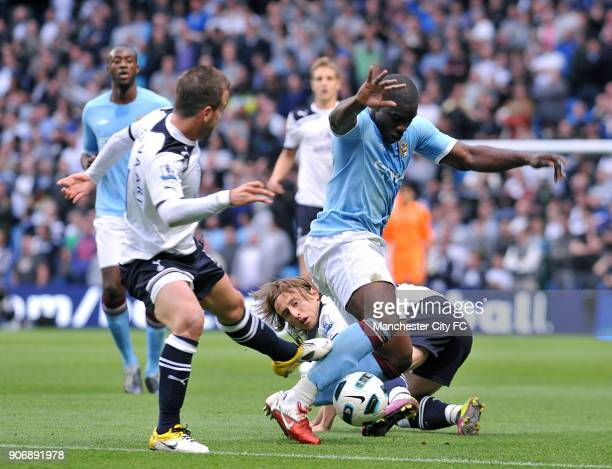 Barclays Premier League Manchester City v Tottenham Hotspur City of Manchester Stadium Manchester City's Micah Richards battles for the ball with...