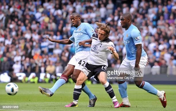 Barclays Premier League Manchester City v Tottenham Hotspur City of Manchester Stadium Manchester City's Gnegneri Toure Yaya and Tottenham Hotspur's...