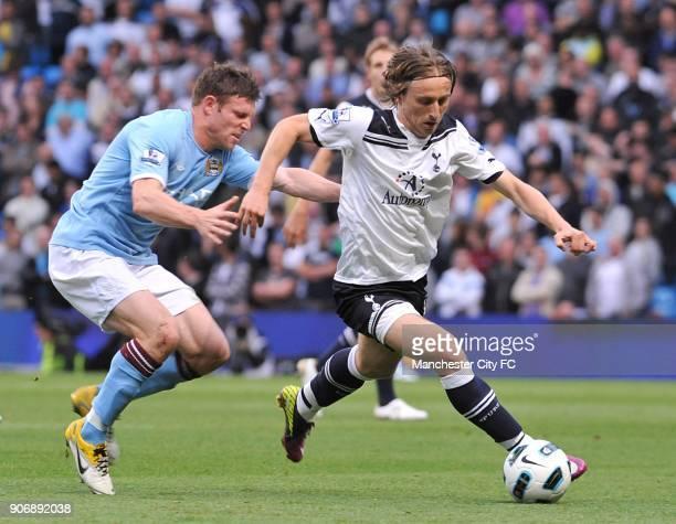 Barclays Premier League Manchester City v Tottenham Hotspur City of Manchester Stadium Manchester City's James Milner and Tottenham Hotspur's Luka...