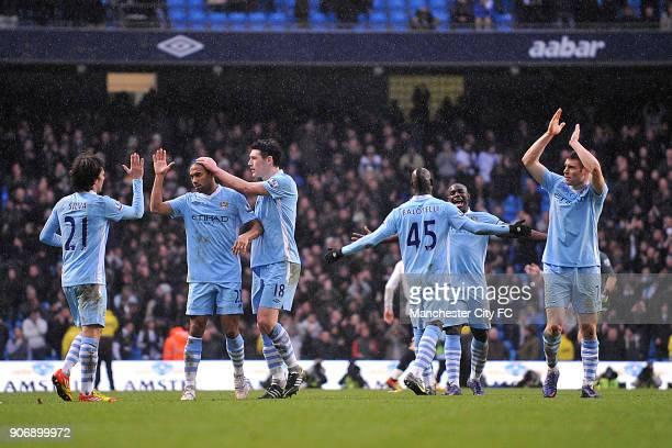 Barclays Premier League Manchester City v Tottenham Hotspur Etihad Stadium Manchester City players David Silva Gael Clichy Gareth Barry Mario...